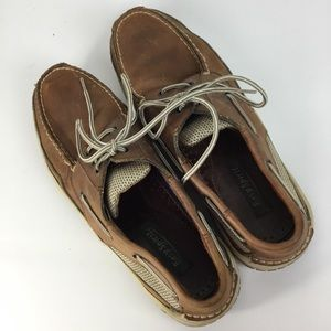 Men's Easy Spirit Tan Leather Boat Shoes Size 9.5